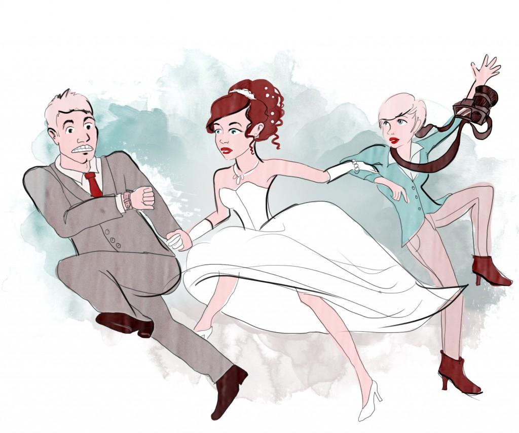 Zeitstreß auf der eigenen Hochzeit kann schnell dazu führen, dass Ihr Euren Tag nicht mehr wirklich genießen könnt - eine gründliche Beratung und Planung über den richtigen Zeitpunkt für die Hochzeitsfotos kann Abhilfe schaffen. Illustration: Viola Konrad (c) Viola Konrad